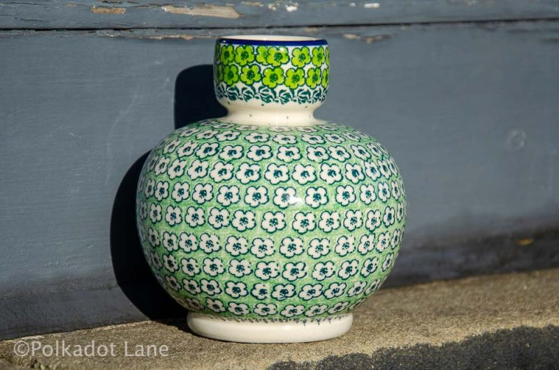 Green Meadow Bulb Shape Vase Polish Pottery from Polkadot Lane UK