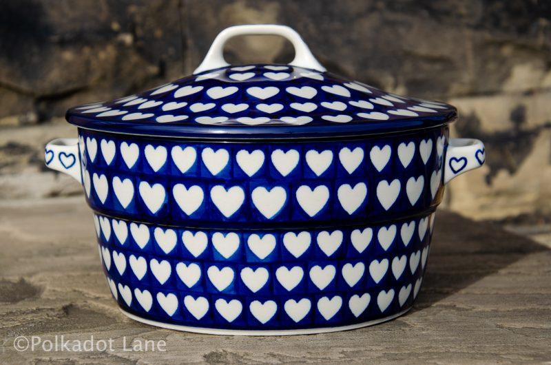 Hearts Pattern Polish Pottery Casserole Dish from Polkadot Lane UK