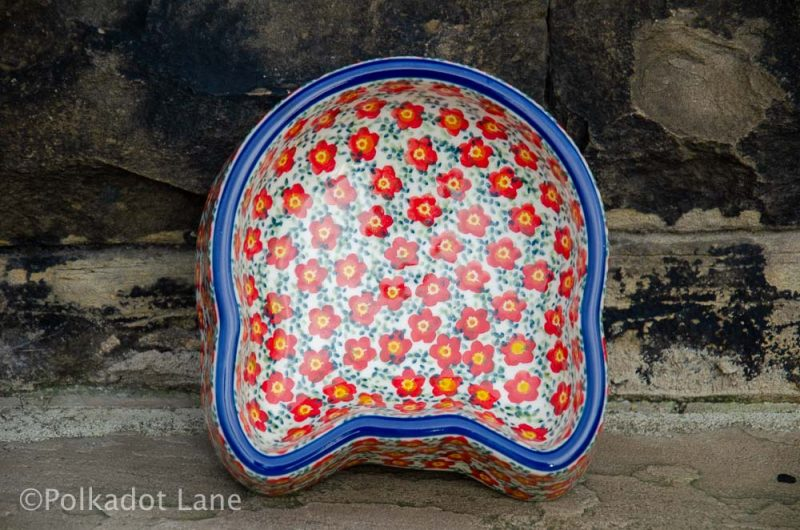 Ditzy Red Flower Cat Bowl from Polkadot Lane Polish Pottery