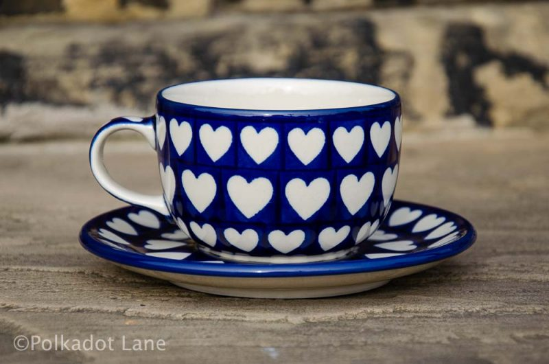 Polish Pottery Hearts Pattern Cup and Saucer