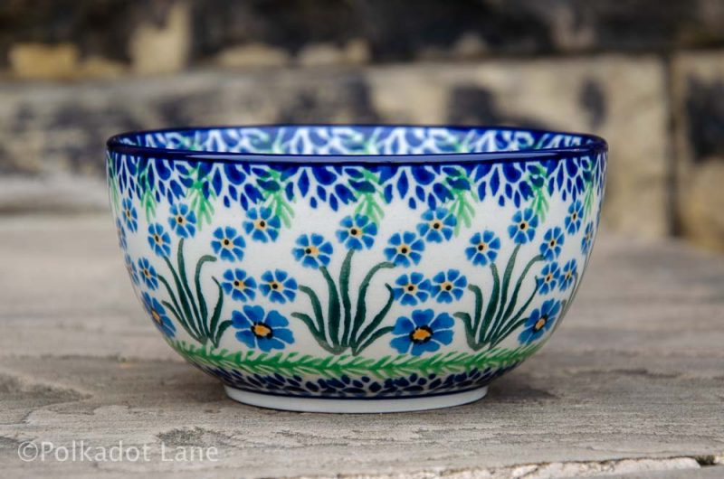 Polish Pottery Forget Me Not Cereal Bowl from Polkadot Lane UK