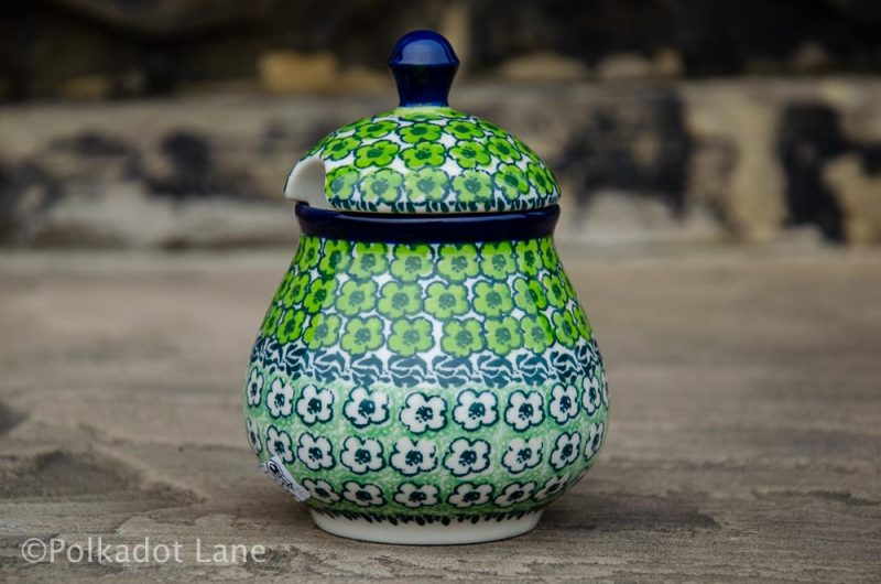 Polish Pottery Green Meadow Sugar Bowl from Polkadot Lane