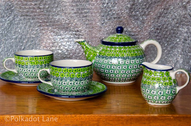 Green Meadow Tea Set for Two from Polkadot Lane UK
