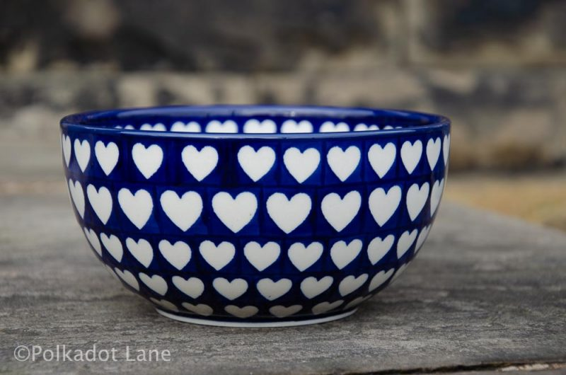 Hearts Pattern Large Cereal Bowl by Ceramika Artystyczna Polish Pottery