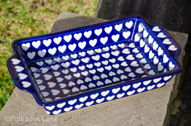 Hearts Pattern Oven Dish With Handles by Ceramika Artystyczna