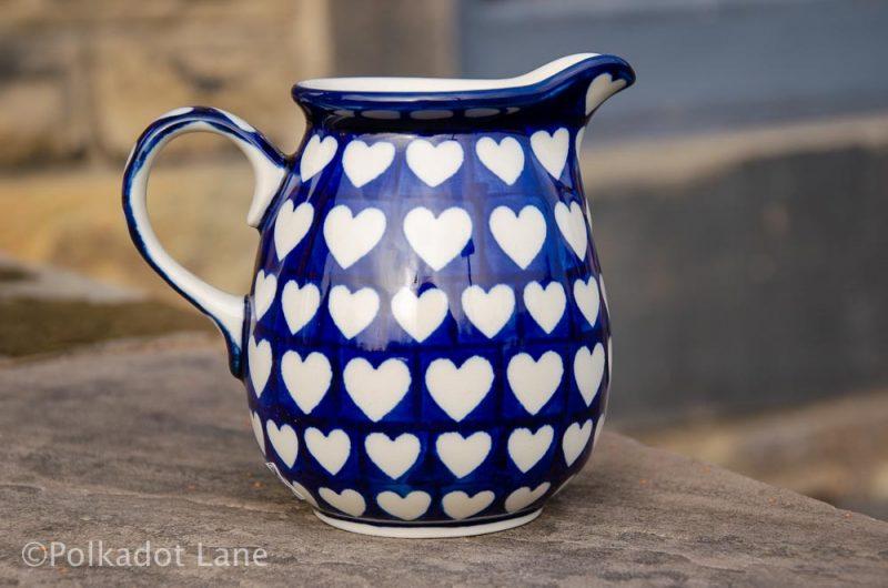 Hearts Pattern Small Jug Polish Pottery from Polkadot Lane UK