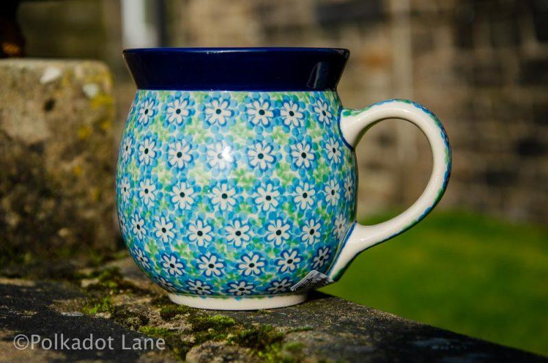 Turquoise Daisy Large Mug Ceramika Artystyczna Polish Pottery