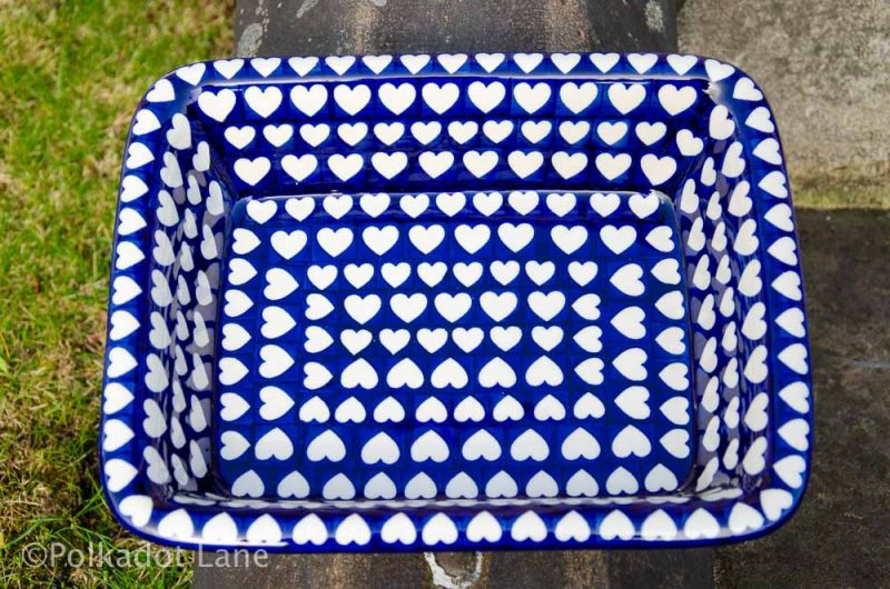 Hearts Pattern Large Oven Dish Ceramika Artystyczna from Polkadot Lane UK
