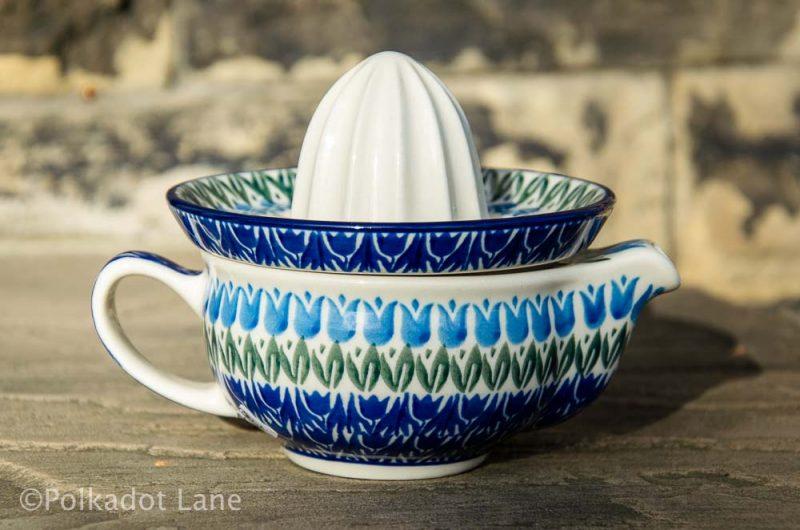 Blue Tulip Lemon Squeezer Ceramika Artystyczna Polish Pottery