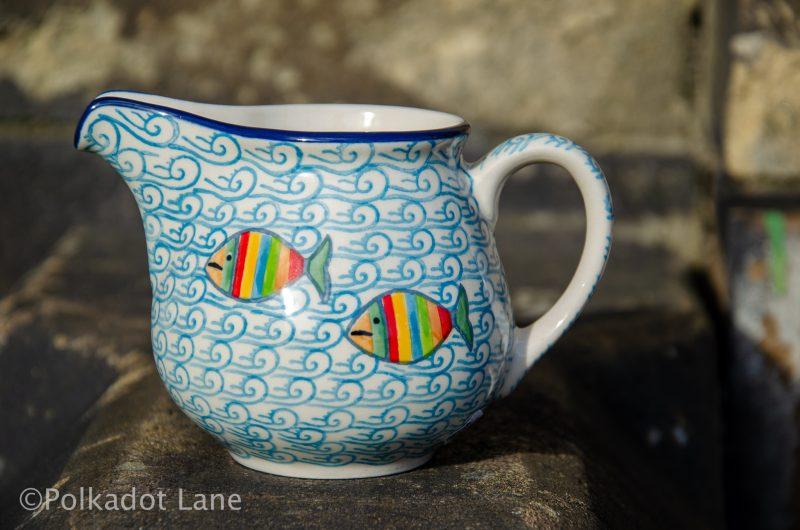 Fish in the Sea Milk Jug Ceramika Artystyczna Polish pottery from Polkadot Lane