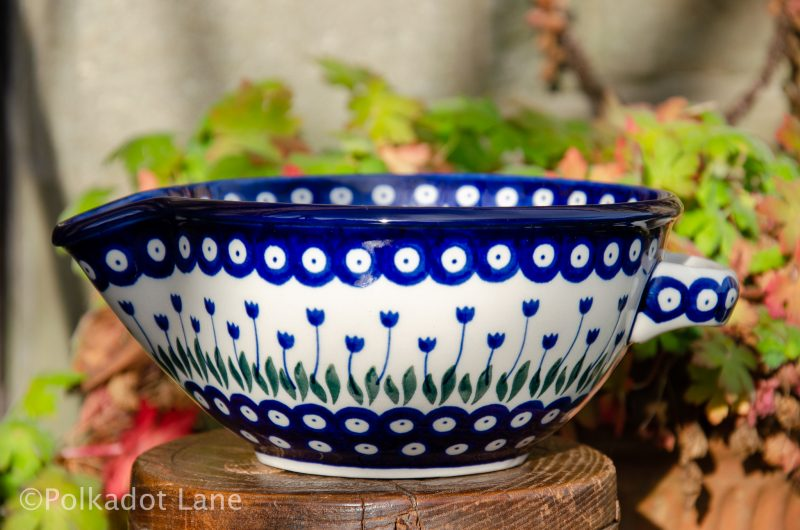 Polish Pottery Flower Spot Mixing Bowl from Polkadot Lane UK