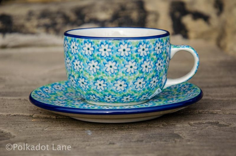 Turquoise Daisy Cup and Saucer Polkadot Lane Polish Pottery
