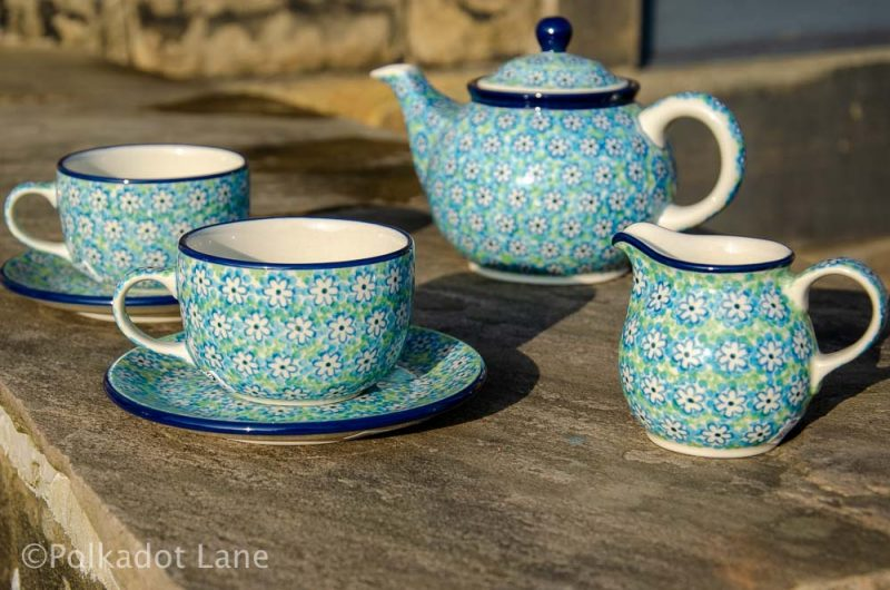 Turquoise Daisy Tea Set Ceramika Artystyczna Polish Pottery