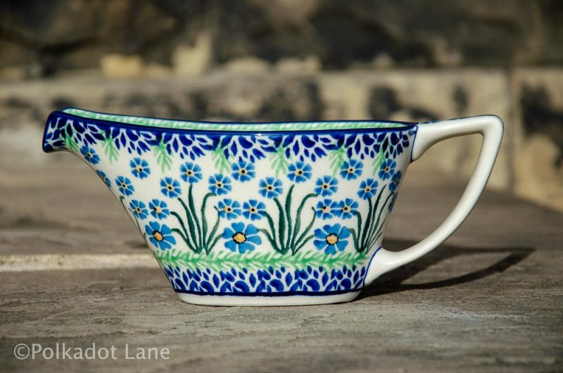 Polish Pottery Gravy Jug Forget Me Not Pattern
