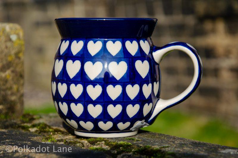 Hearts Pattern Large Mug from Polkadot Lane Polish Pottery