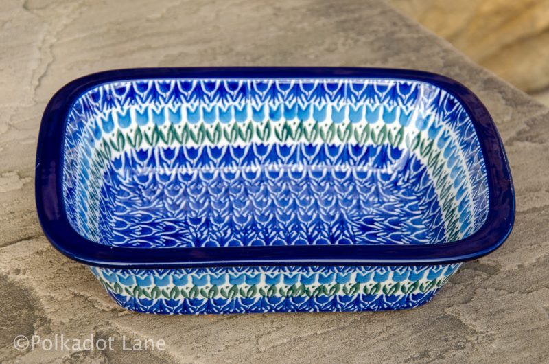 Blue Tulip Small Oven Dish Polish Pottery from Polkadot Lane UK