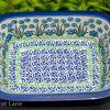 Polish Pottery Forget Me Not Pie Dish by Ceramika Artystyczna