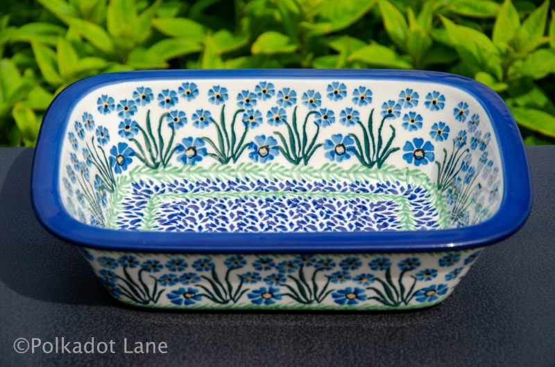 Forget Me Not Pie Dish from polkadot Lane Polish Pottery