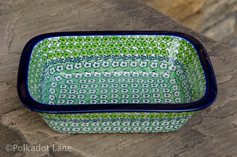 Green Meadow Small Pie Dish by Ceramika Artystyczna Polish Pottery