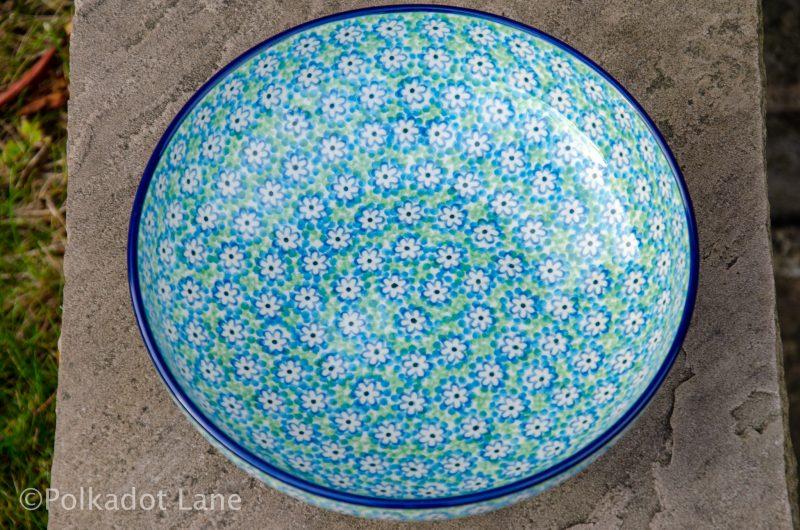 Turquoise Daisy Salad Bowl by Ceramika Artystyczna Polish Pottery