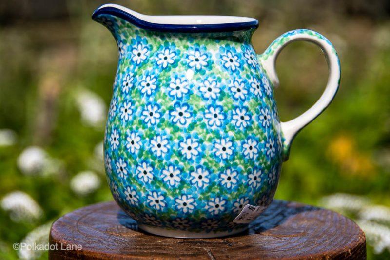 Turquoise Daisy Small Jug by Ceramika Artystyczna