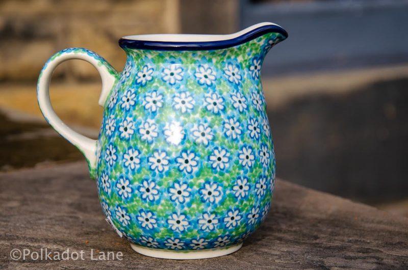 Polish Pottery Small Jug Turquoise Daisy from Polkadot Lane UK