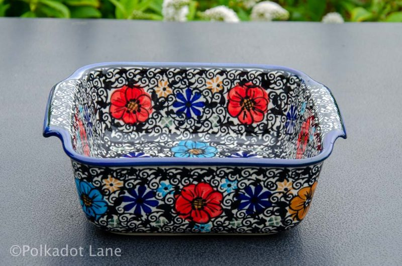 Polish Pottery Mexican Flower Oven Dish Ceramika Andy