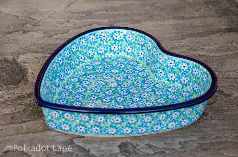 Turquoise Daisy Shallow Heart Dish by Ceramika Artystyczna