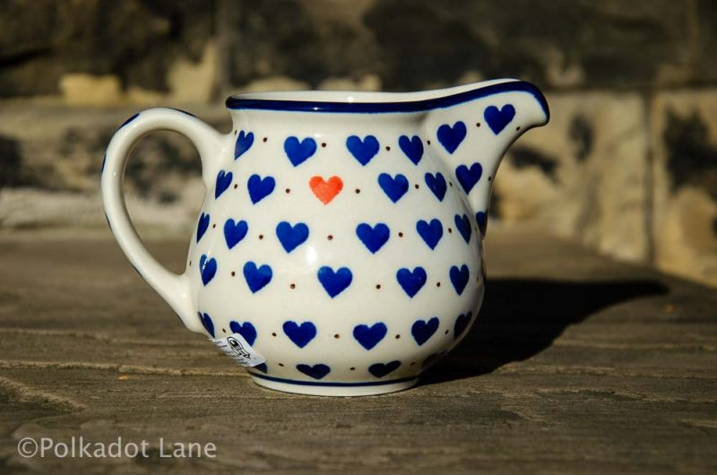 Small Hearts Pattern Milk Jug from Polkadot Lane Polish Pottery