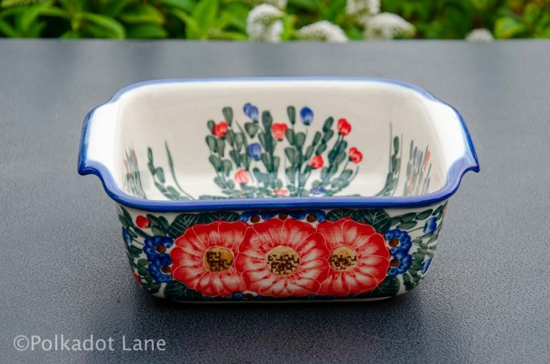 Red Flower Oven Dish Ceramika Andy from Polkadot Lane UK