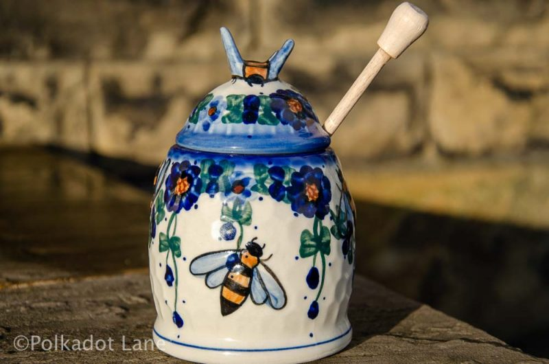 Polish Pottery Blue Flowers Honey Pot from Polkadot Lane UK