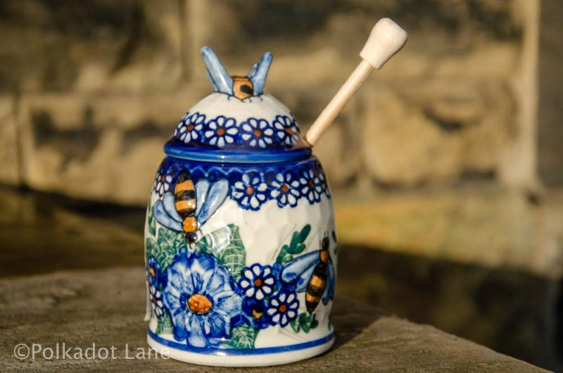 Andy Honey Pot Blue Flower Daisy Pattern