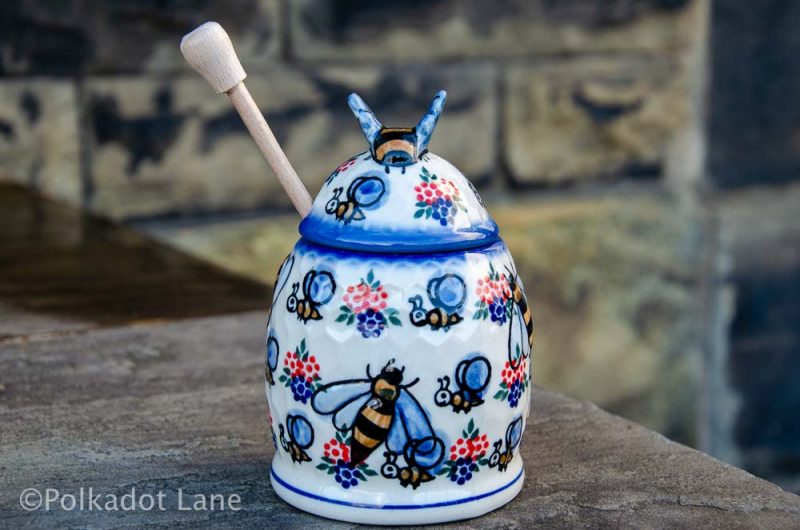 Bumble Bee Pattern Honey Pot Ceramika Andy from Polkadot Lane UK
