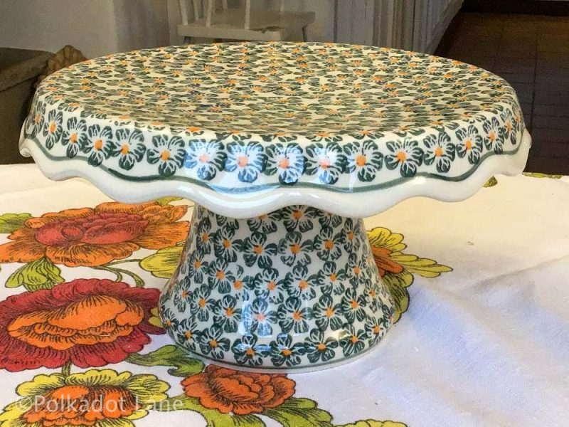 Cake Stand Green Daisy Pattern Boleslawiec Polish Pottery