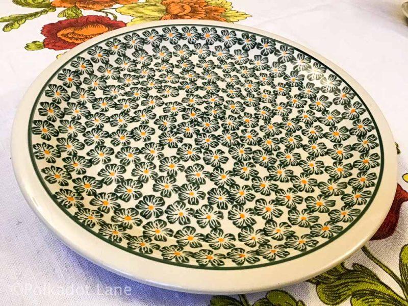Green Daisy Dinner Plate by Ceramika Zaklady Polish Pottery