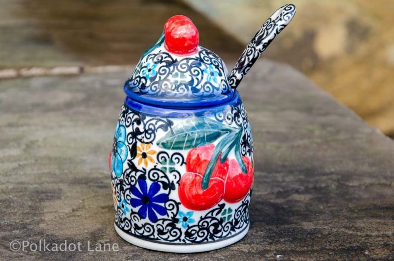 Polish Pottery Jam Pot with Spoon Unikat from Polkadot Lane UK