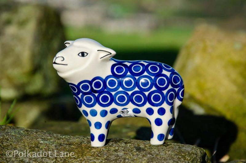 Circles and Spots Pattern Sheep Ornament from Polkadot Lane Polish Pottery