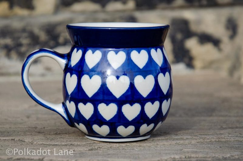 Polish Pottery Hearts Pattern Small Mug from Polkadot Lane UK