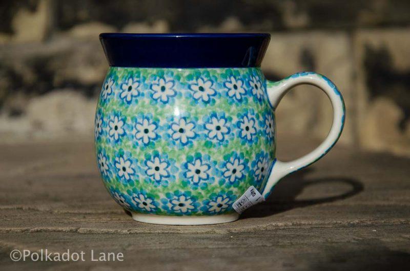Turquoise Daisy Small Mug Polish Pottery from Polkadot Lane UK