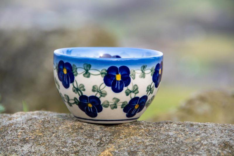 Blue Pansy Dip Bowl by Ceramika Andy Polish Pottery
