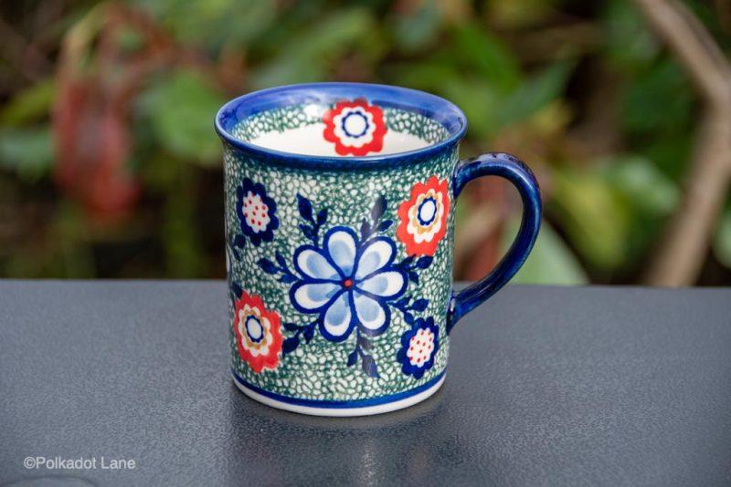 Flowers on Green Tea Mug by Ceramika Andy from Polkadot Lane UK