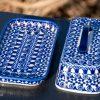 Blue Flower and Swirl Butter Dish from Polkadot Lane Polish Pottery UK