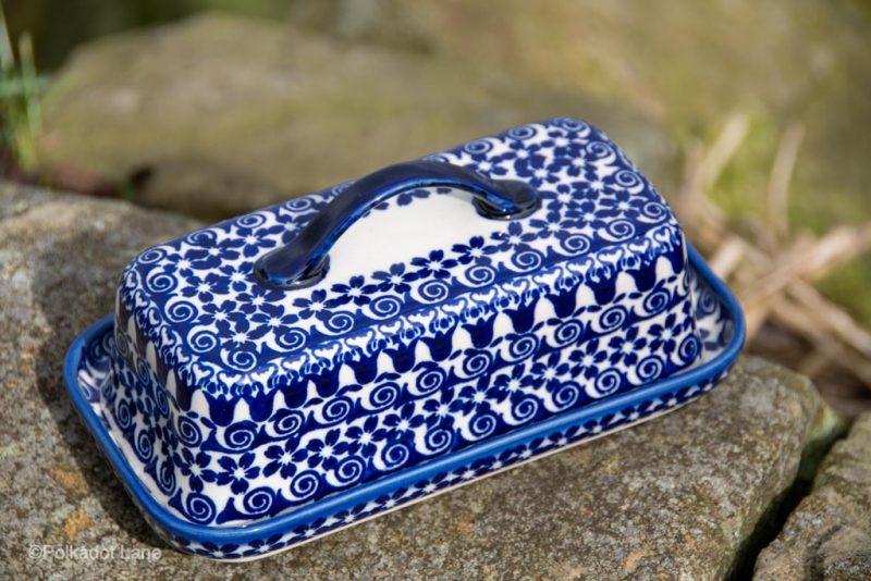 Butter Dish Blue Flower Swirl Ceramika Andy Polish Pottery