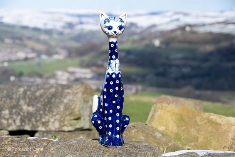 Blue Spotty Cat by Ceramika Andy Polish Pottery