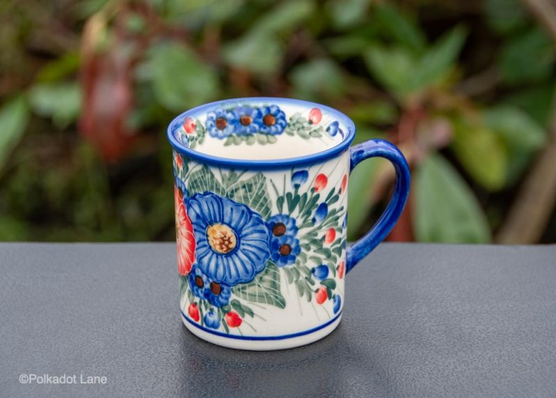 Blue and Red Flower Tea Mug Ceramika Andy Unikat Polish Pottery