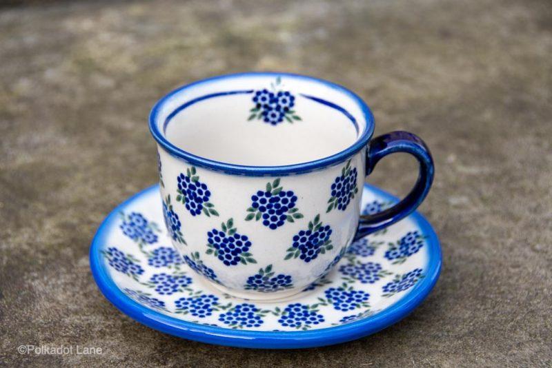 Polish pottery Cup And Saucer Unikat Pattern from Polkadot Lane UK
