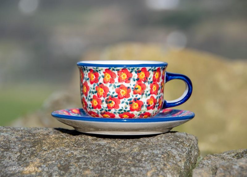 Polish Pottery Ditzy Red Flower Cup and Saucer from Polkadot Lane UK