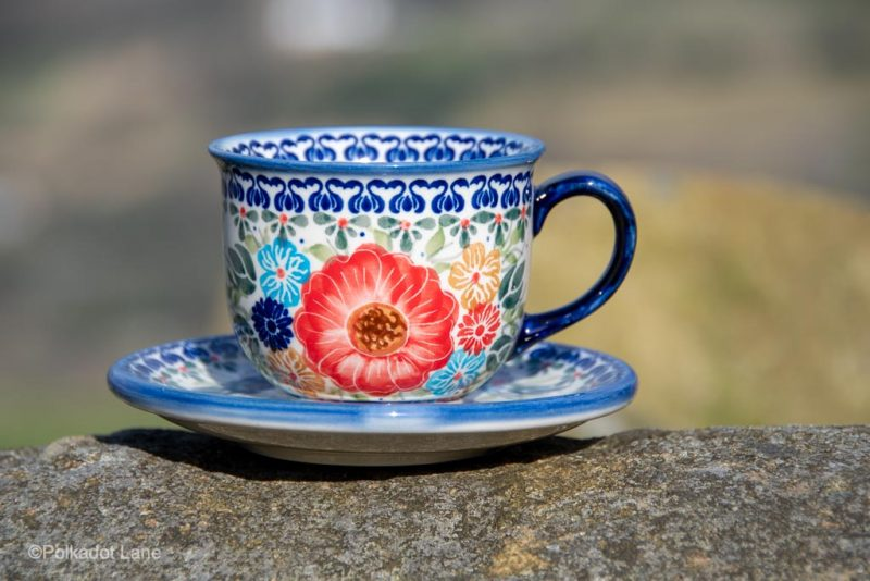Polish Pottery Unikat Flower Garden Cup and Saucer from Polkadot Lane