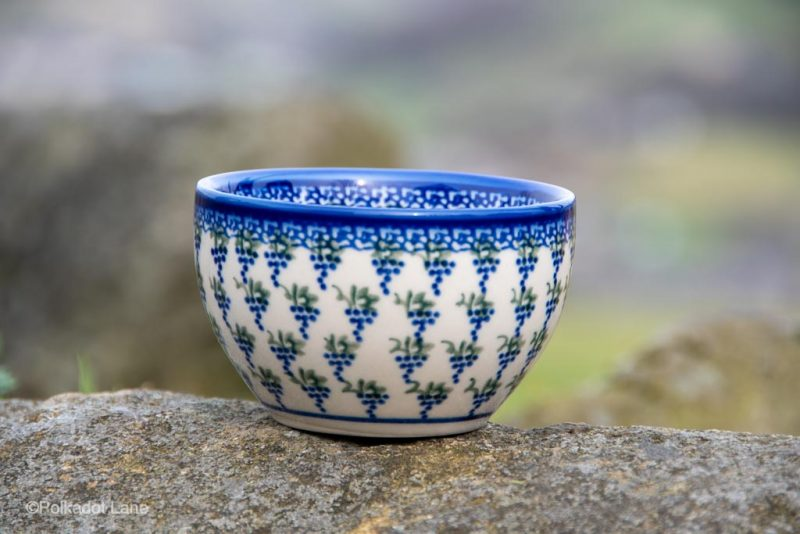 Grapes Pattern Dip Bowl Unikat from Polkadot Lane Polish Pottery UK
