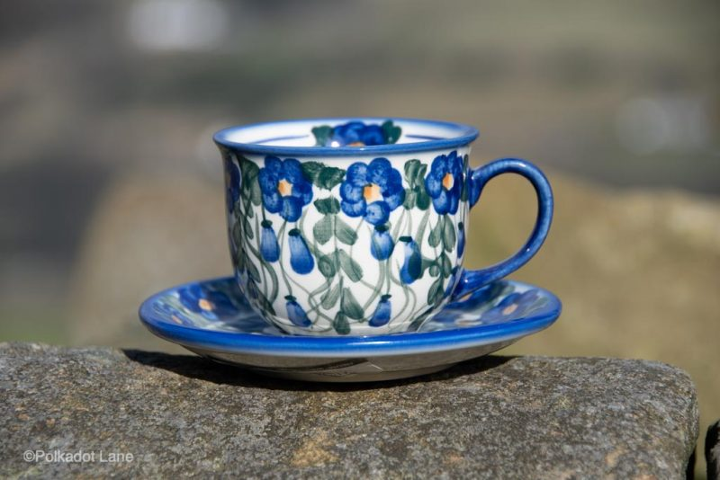 Cup and Saucer Hanging Berry Unikat pattern from Polkadot Lane Polish Pottery UK